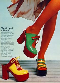 ZOMP Platform shoes, 1973 (My grandmother had a pair that I would wear around the house. Very loud on hardwood! mds)