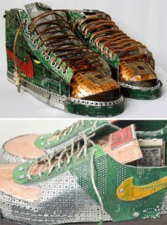 """""""nikes"""" created from upcycled circuitboards."""