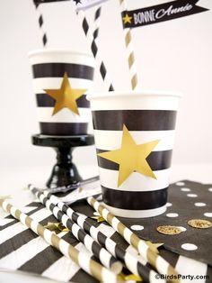 Idées Party Nouvel An: Table Noire, Blanche et Dorée pour le réveillon du Nouvel An