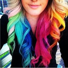 This rainbow hair is so cute! ❤ Yay or nay?  Follow @myelitestyle @myelitestyle @myelitestyle  Email me for paid promotion inquiries #Padgram