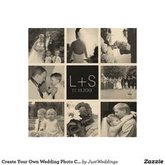 Create Your Own Wedding Photo Collage Monogram Wood Wall Art