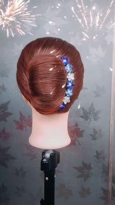 Short Hair Ponytail, Hairdo For Long Hair, Hair Ponytail Styles, Bun Hairstyles For Long Hair, Front Hair Styles, Medium Hair Styles, Hair Style Vedio, Hair Tutorials For Medium Hair, Bridal Hair Buns