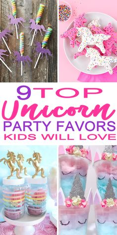 The BEST unicorn party favors! Kids will go crazy for these magical party favor ideas for a unicorn theme party. Learn how to make party favor bags, fill goodie bags with unicorn loot or make homemade playdough or opt for cotton candy or lollipops. Unicorn Party Bags, Rainbow Unicorn Party, Unicorn Themed Birthday Party, Frozen Birthday, 9th Birthday, Kid Party Favors, Craft Party, Birthday Party Decorations, Wedding Favors