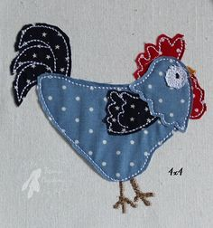 Raw Edge Applique Rooster Machine Embroidery Design 4x4, 5x7, 6x10 by Titania Creations, Instant Download.