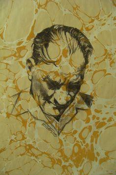 Üzeri battal ebru baskılı,   Atatürk portresi.
