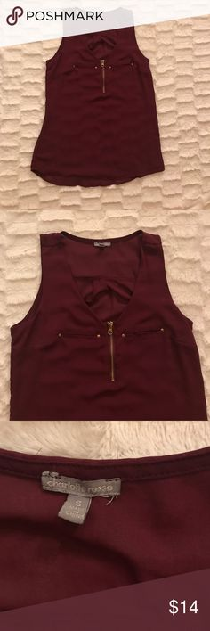 Small Maroon Tank Top-Charlotte Russe Charlotte Russe Maroon Tank Top with Gold Zipper. Size small. Only worn once. Charlotte Russe Tops