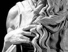 Arte - Escultura - Itália - MICHELANGELO - MOISES - DETALHE MÃO E CABELO - 1515 Blog Biografia