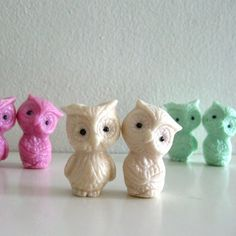 Retro Resin Owl Magnets Figurines Off White Handmade by ismoyo, $12.00