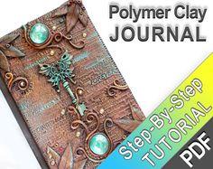 Polymer Clay Journal Tutorial - imitation cuir, des polices, des perles de verre de patine