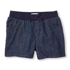 denim knit-waist shorts