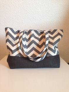 Heather Grey Chevron Print Diaper Bag/Purse on Etsy, $42.00