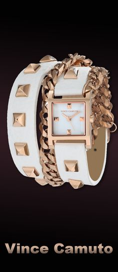 #watch, #women`s watches Vince Camuto Women's Rose Gold-Tone Pyramid Studded Double-Wrap White Leather Strap Watch. Available at #Brandinia      www.Brandinia.com