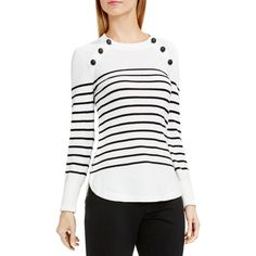 Vince Camuto Button Shoulder Stripe Sweater (470 SAR) ❤ liked on Polyvore featuring tops, sweaters, antique white, stripe top, nautical sweater, vince camuto, nautical stripe sweater and nautical striped top