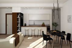 Apartment renovation - Kitchen and Dining render Apartment Renovation, Kitchen Dining, House Design, Table, Furniture, Home Decor, Kitchen Dining Living, Decoration Home, Room Decor