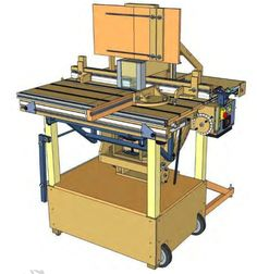 Champytool by Champy -- Homemade router table assembly intended to pivot the router from horizontal to vertical and capable of being locked in any intermediate position. Also features a secondary cross table, dust collection, parallel, and angular guides. Precision markings enable the electric motors to precisely position the router assembly to 1/10 of a millimeter. http://www.homemadetools.net/homemade-champytool