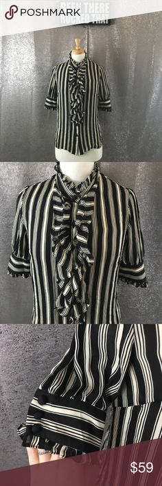 Milly silk striped ruffle front button down top In excellent condition Milly Tops Blouses