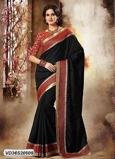 Other Ind-Pak Clothes and Accs 155251: Black Coloured Dhupian Silk Saree Sari Designer Blouse Black Embroidered Indian -> BUY IT NOW ONLY: $43.99 on eBay!