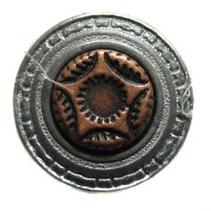 Silver Button With Bronce Star at center (5/8)