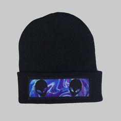 Space Aliens Winter Beanie Headwear Hipster Indie Swag Dope Hype Black Hat  Beanie Mens Womens Cute Slouchy Hat Alien Halloween Cosmic 7aea0246f99c