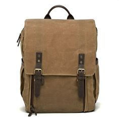 Ona Camps Bay Camera and Laptop Backpack, Handcrafted with Waxed Canves and Leather - Field Tan, for up to 17 inch Laptops
