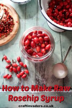 Raw rosehip syrup is a no-cook rosehip syrup recipe that uses sugar to draw the juice from the fruit resulting in a thick, delicious syrup. Gin Recipes, Fall Recipes, Cooking Recipes, Syrup Recipes, Vegetarian Recipes, Rosehip Syrup, Rosehip Recipes, Cordial Recipe, Vegetable Crisps