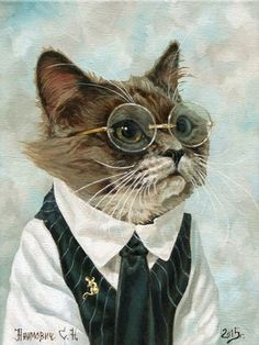 MELUSINE.H : Photo.........I LOVE KITTIES IN SPECTACLES......THIS ONE IS READY TO GO TO WORK AT THE LIBRARY .......HOW ABOUT THAT NEAT SHIRT, VEST & TIE ????................ccp
