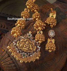 Antique Jhumkis Necklace with Nakshi pendant