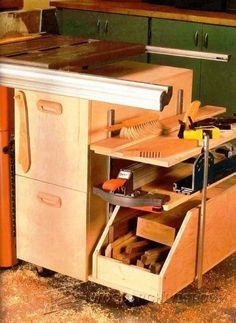 Table Saw Storage Cabinet Plans - Table Saw Tips, Jigs and Fixtures - Woodwork, Woodworking, Woodworking Tips, Woodworking Techniques