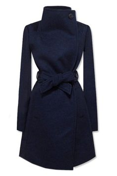 I love the structure of this coat, and the navy color. Great alternative to black.