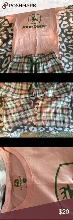 John Deere pink and green pajamas Brand new, got as Christmas gift and never worn, flannel plaid pj pants with a short sleeve tshirt top that has a sparkly John Deere symbol on front, both size small John Deere Intimates & Sleepwear Pajamas