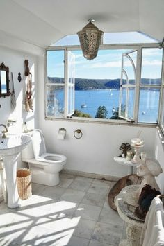 This bathroom might be small, but the location is amazing...
