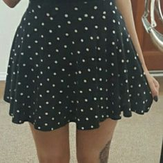 Black polka dot skater skirt Cottong. Black and white polka dot skater skirt. Elastic waist. Loose and flowy. French-ish. Super cute with flats and a white top Forever 21 Skirts Circle & Skater