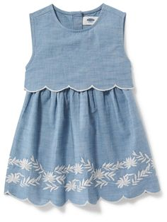 2-in-1 Embroidered Chambray Dress for Baby