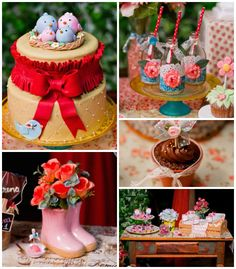 Sweet Moments Garden birthday party with Lots of Cute Ideas via Kara's Party Ideas | Cake, decor, cupcakes, favors, printables, and MORE! #f...