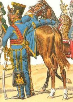 FRANCE - Officier du 5e Hussards en tenue de campagne, 1810-1812, d'après Lucien Rousselot (L'Armée française, planche 54).