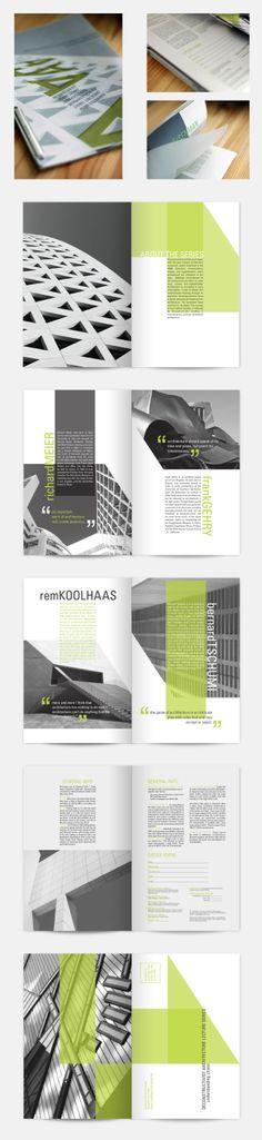 "A brochure for a fictional deconstructivst architecture lecture series. 6x9, fall 2008. / Design by Kiertsen Miller > ""Love it""!"