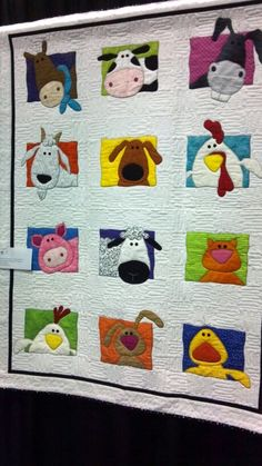 Animal applique quilt - Animal Whimsy Quilt Pattern by Amy Bradley Designs....(such a cute, whimsical quilt! must have been fun to put it all together.love it!)....