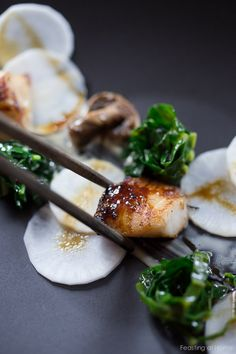 White Miso Black Cod-w/ pickled daikon, kale nests and miso aioli Cod Recipes, Seafood Recipes, Asian Recipes, Whole Food Recipes, Cooking Recipes, Ethnic Recipes, Japanese Recipes, Miso Black Cod Recipe, White Miso