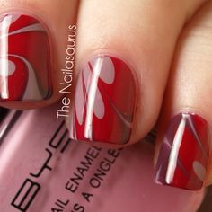 Appealing Red with Grey Flowery Watery Marble Nail Design - Marble Nail Designs