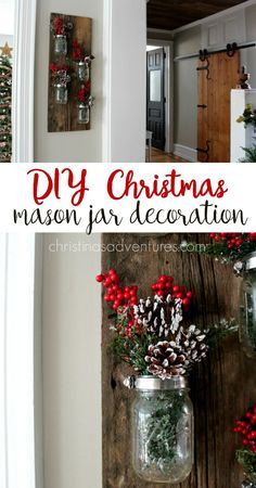 This DIY mason jar decoration is simple and will last throughout every season.  Here's a great way to decorate it for Christmas!