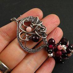 Wire wrapped bracelet burgundy bracelet by MadeBySunflower on Etsy