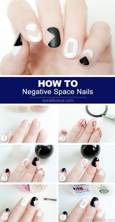 Negative Space Nail Art - HOW TO: http://sonailicious.com/black-and-white-negative-space-nails-tutorial/