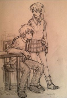 burdge: i have this headcanon that when these two finally started to date a lot of people were confused cause they thought Soul and Maka were an item the whole time. Cute Couple Drawings, Cute Drawings, Drawing Sketches, Soul And Maka, Soul Eater, Character Inspiration, Character Art, Character Design, Desenhos Harry Potter