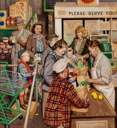 'Grocery Line, Saturday Evening Post Cover' by Stevan Dohanos (American…