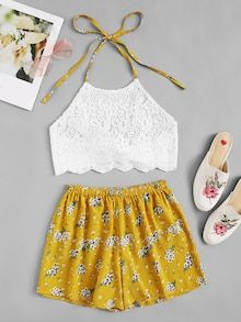 To find out about the Lace Halter Top With Floral Print Shorts at SHEIN, part of our latest Two-piece Outfits ready to shop online today! Kids Outfits Girls, Teenager Outfits, Teen Fashion Outfits, Girl Fashion, Girl Outfits, Cute Comfy Outfits, Cute Summer Outfits, Stylish Outfits, Lace Halter Top