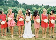 super cute bridal party - so different from anything ive seen before-  i usually dont love different dresses but in this case i think its really cute / works really well. and i loooove the bride's dress