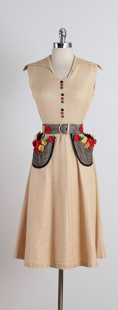 ➳ vintage 1950s dress * tan woven cotton * red & yellow floral accents * button front accents * mesh embroidered pockets and belt * detachable