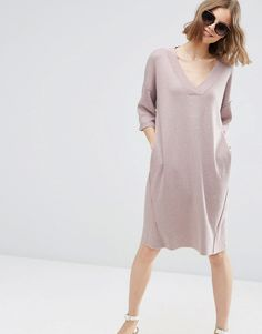 Image 4 of ASOS Oversized Jumper Dress with V Neck In Silk Blend Yarn