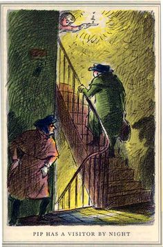 Pip has a visitor by night -Dicken's Great Expectations - Edward Ardizzone