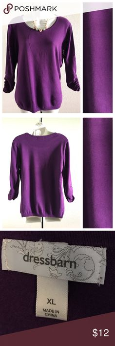 "Dressbarn Top Underarm to underarm 21.5"", length 24"". 52% cotton 30% rayon 18"" nylon. Size XL but will fit large Dress Barn Tops"